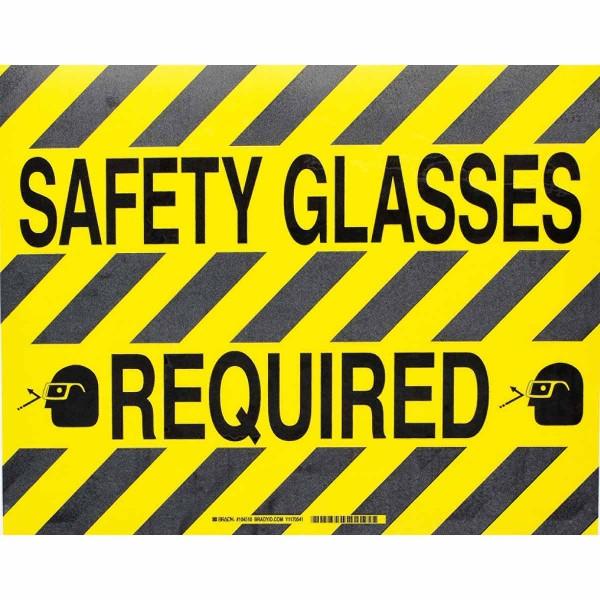 BRADY ToughStripe - Vorgedruckte Bodenmarkierung BK/YL SAFETY GLASSES REQ 355,6 X 457,2 104510