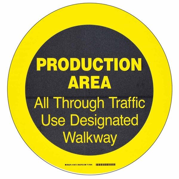 BRADY ToughStripe - Vorgedruckte Bodenmarkierung BK/YL PRODUCTION AREA ALL.. 431,8 MM DIA 104513