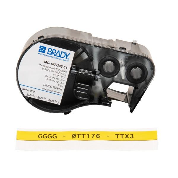 BRADY PermaSleeve Schrumpfschläuche zur Kabelkennzeichnung für BMP41/BMP51/B MC-187-342-YL 143230