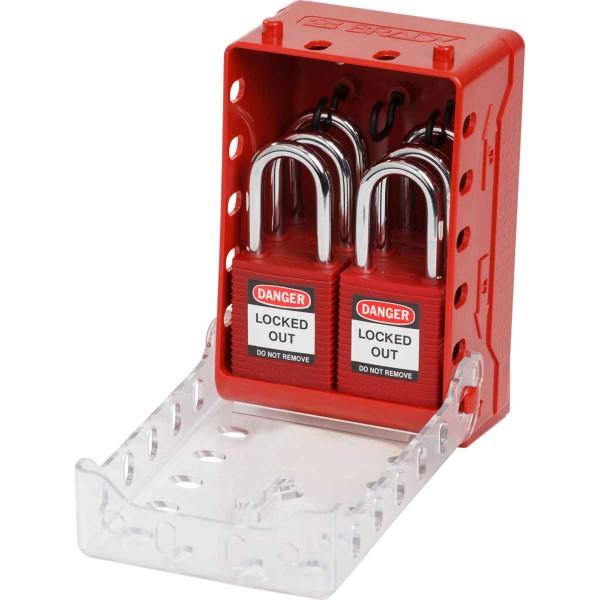 BRADY Ultrakompakter Verschlusskasten + 6rote KA-Schlösser Compact Lock Box+6 Red Keyed-Alike Locks