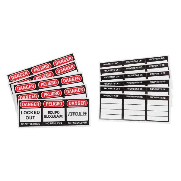 BRADY Etiketten für Sicherheitsschlösser SFTY PADLOCK LBLS, 6 EA/PK,, ENG,FR,SPN 51379