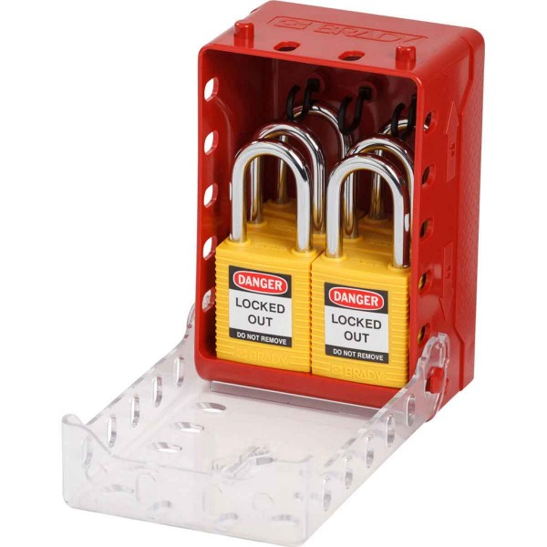 BRADY Ultrakompakter Verschlusskasten + 6gelbe KD-Schlösser Compact Lock Box+6 Ylw Keyed-Diff Locks