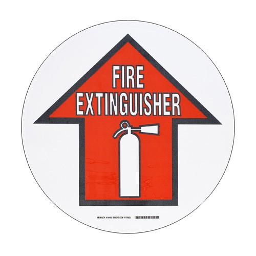 BRADY ToughStripe - Vorgedruckte Bodenmarkierung RD/BK/WT FIRE EXTING W/SYM 431,8 MM DIA 104492