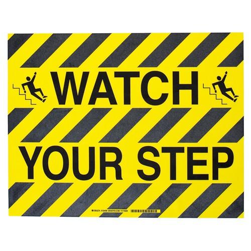 BRADY ToughStripe - Vorgedruckte Bodenmarkierung BK/YL WATCH YOUR STEP 355,6 X 457,2 104499