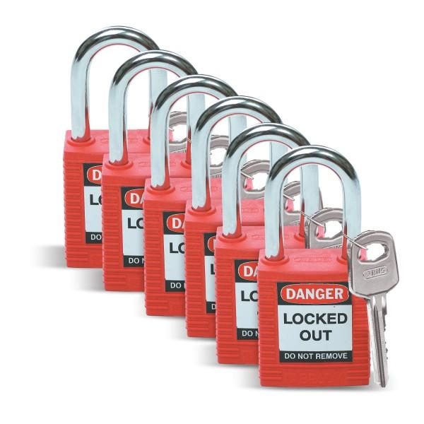 BRADY Sicherheitsschlösser–Standard SFTY PADLOCK STEEL 38MM SHA RED 6/PAC 51339