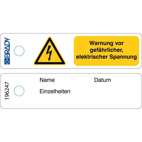 BRADY Mini-Anhänger–Warnung, gefährliche elektrische Spannung–DE MITAG-W012-DE/50 196247