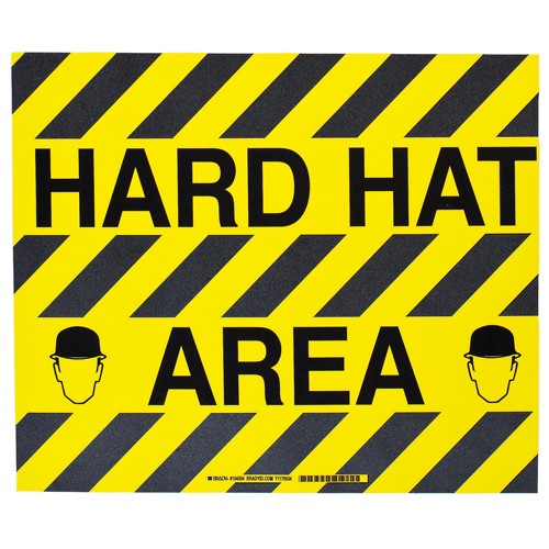 BRADY ToughStripe - Vorgedruckte Bodenmarkierung BK/YL HARD HAT AREA 355,6 X 457,2 104504