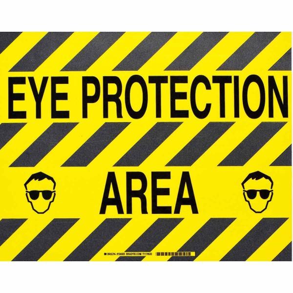 BRADY ToughStripe - Vorgedruckte Bodenmarkierung BK/YL EYE PROTECTION AREA 355,6 X 457,2 104503