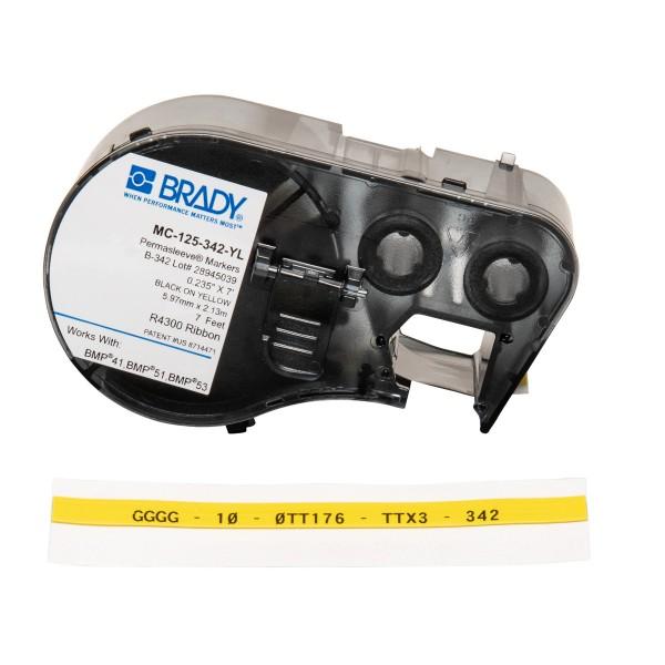 BRADY PermaSleeve Schrumpfschläuche zur Kabelkennzeichnung für BMP41/BMP51/B MC-125-342-YL 143231