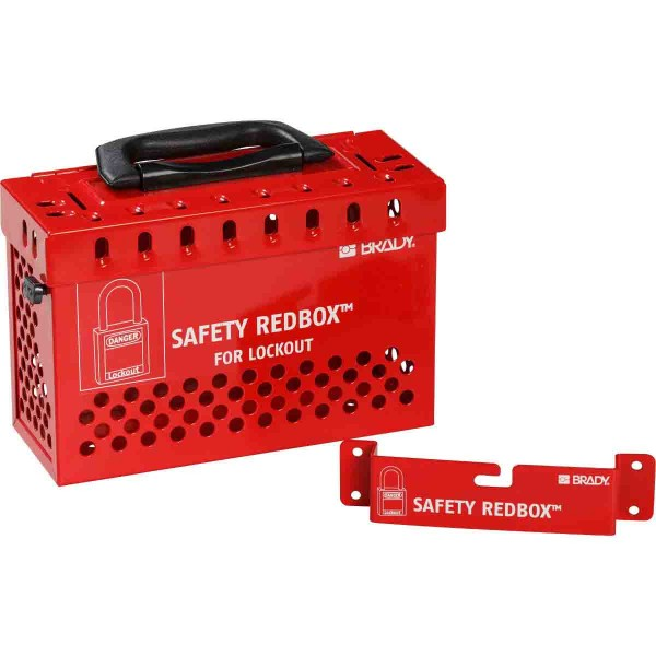 BRADY Safety Redbox Gruppenverschlusskasten – Rot WALL-MOUNTABLE LOCKBOX W/ QUICK REL. RED 145579