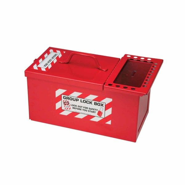 BRADY Kombiniertes Schlossaufbewahrungs-/Gruppenverschluss-Center METAL STORAGE LOCK BOX,SMALL,RED 1