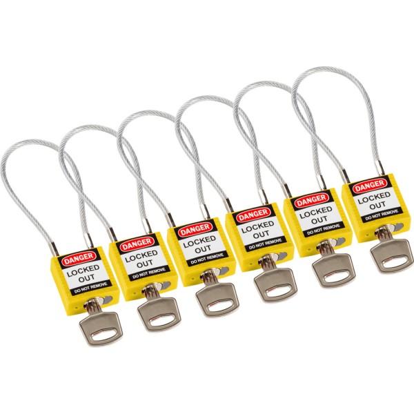 BRADY Kompakte Sicherheitsschlösser–mit Kabelbügel COMPACT CABLE PADLOCK YELLOW 20CM KD/6PK 195973
