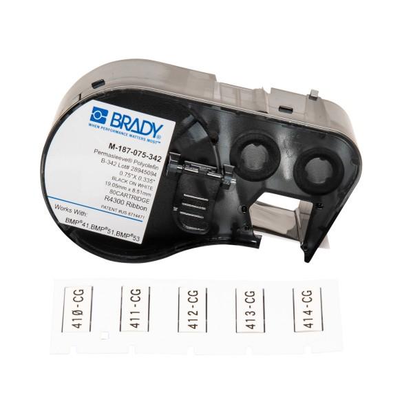 BRADY PermaSleeve Schrumpfschläuche zur Kabelkennzeichnung für BMP41/BMP51/B M-187-075-342 131609