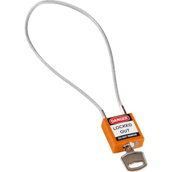 BRADY Kompakte Sicherheitsschlösser–mit Kabelbügel COMPACT CABLE PADLOCK ORANGE 40CM KD 195943