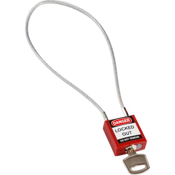 BRADY Kompakte Sicherheitsschlösser–mit Kabelbügel COMPACT CABLE PADLOCK RED 40CM KD 146124