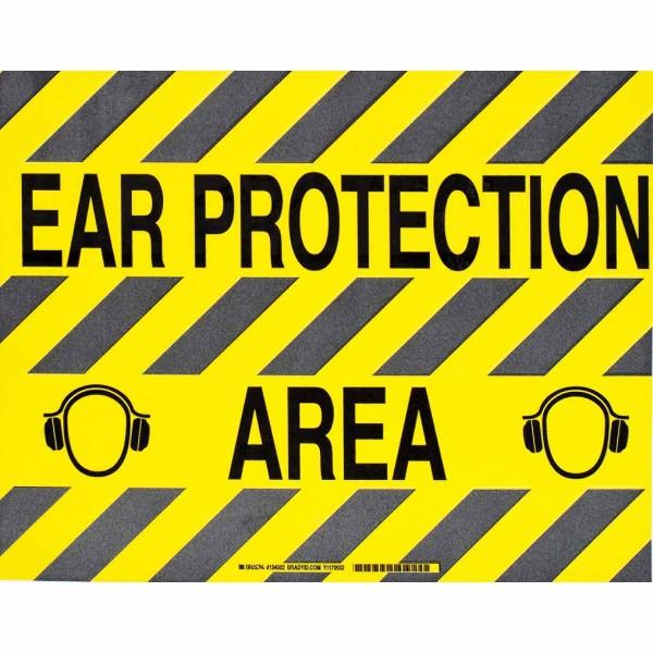 BRADY ToughStripe - Vorgedruckte Bodenmarkierung BK/YL EAR PROTECTION AREA 355,6 X 457,2 104502