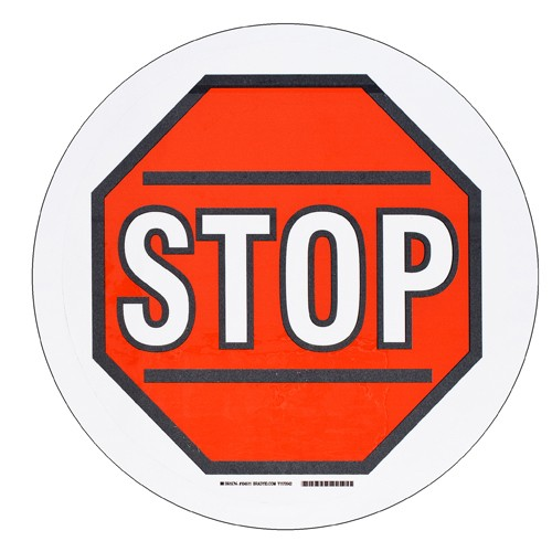 BRADY ToughStripe - Vorgedruckte Bodenmarkierung RD/BK//WT STOP W/SYMBOL 431,8 MM DIA 104511